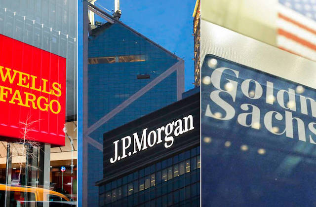 Edificios logos Wells Fargo JP Morgan y Goldman sachs